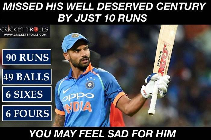 Shikhar Dhawan scored his 5th T20I fifty #SLvIND #NidahasTrophy - facebook.com/MyCricketTrolls