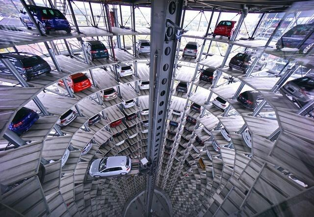 DECEMBER 9, 2017DAS AUTO  A car is retrieved from a storage tower at the Volkswagen factory in Wolfsburg, Germany. The plant makes upwards of 800,000 cars each year.  PHOTOGRAPH BY S. KIM SEONG,