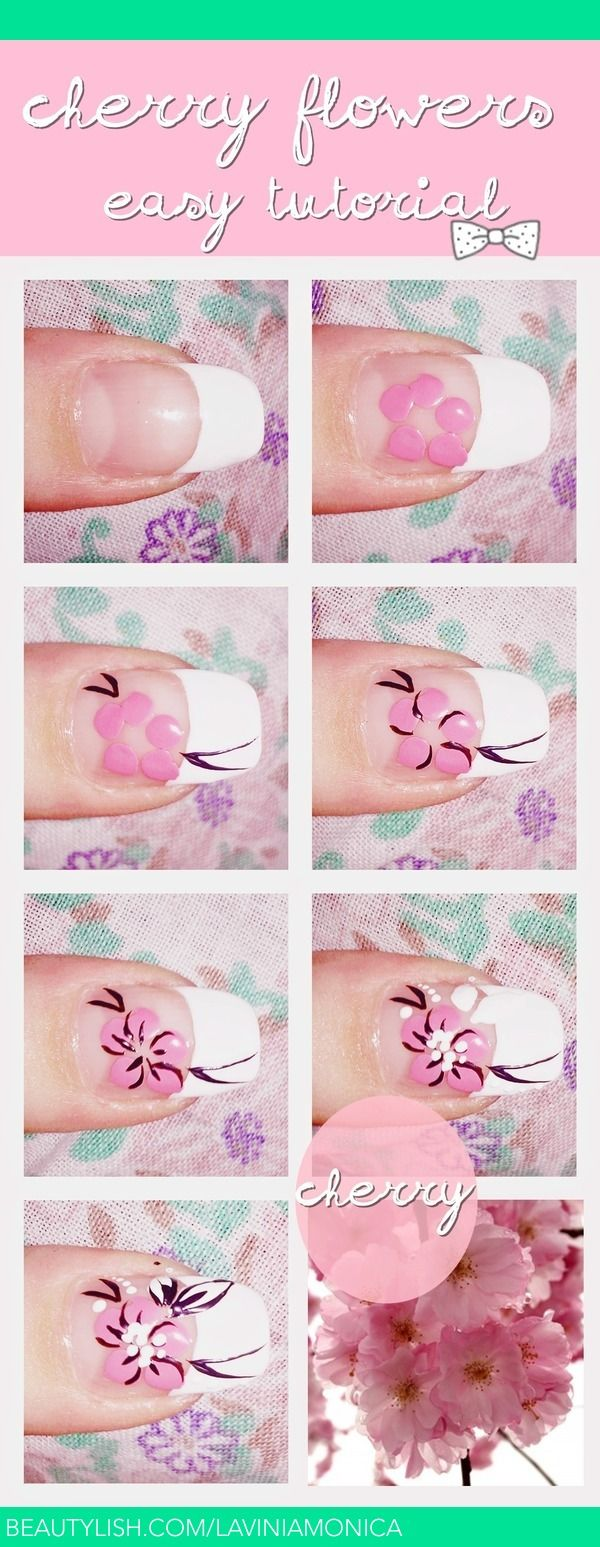 Cherry flower tutorial   Monica L.'s (laviniamonica) Photo   Beautylish