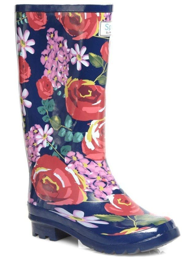 IN LOVE!!  Evans Floral Wellies, $50 | 36 Gorgeous Boots For Women With Wide Calves