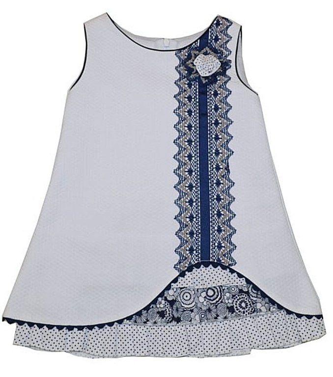 Vestido para niña pique blanco- cisne blanco moda infantil