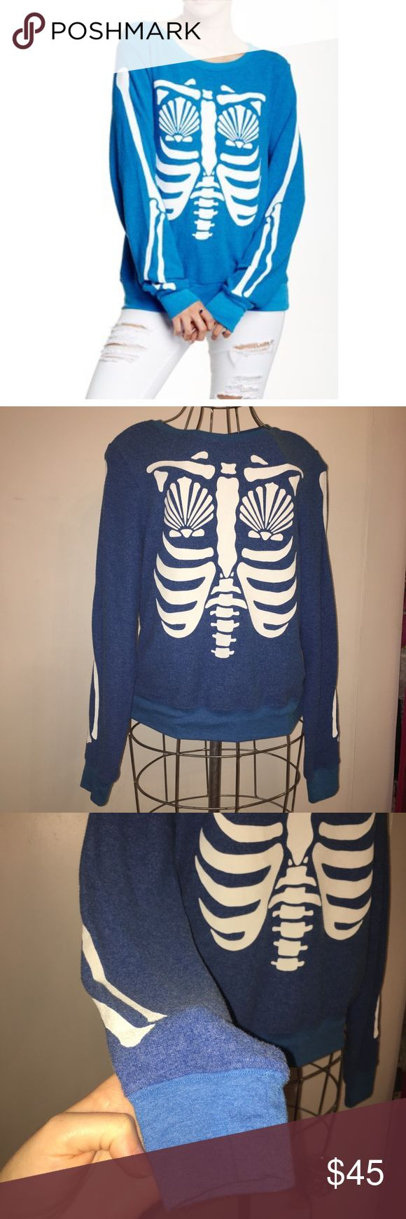 Skeleton mermaid sweater Blue and white Wildfox mermaid skeleton pullover sweater jumper size medium, good condition lightly worn. Light pilling and wear Wildfox Sweaters