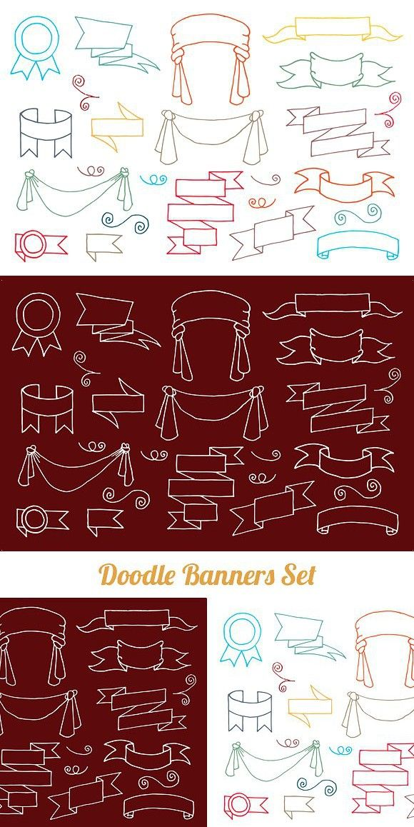 Doodle Banners Set Doodles, Banner, Swirl design