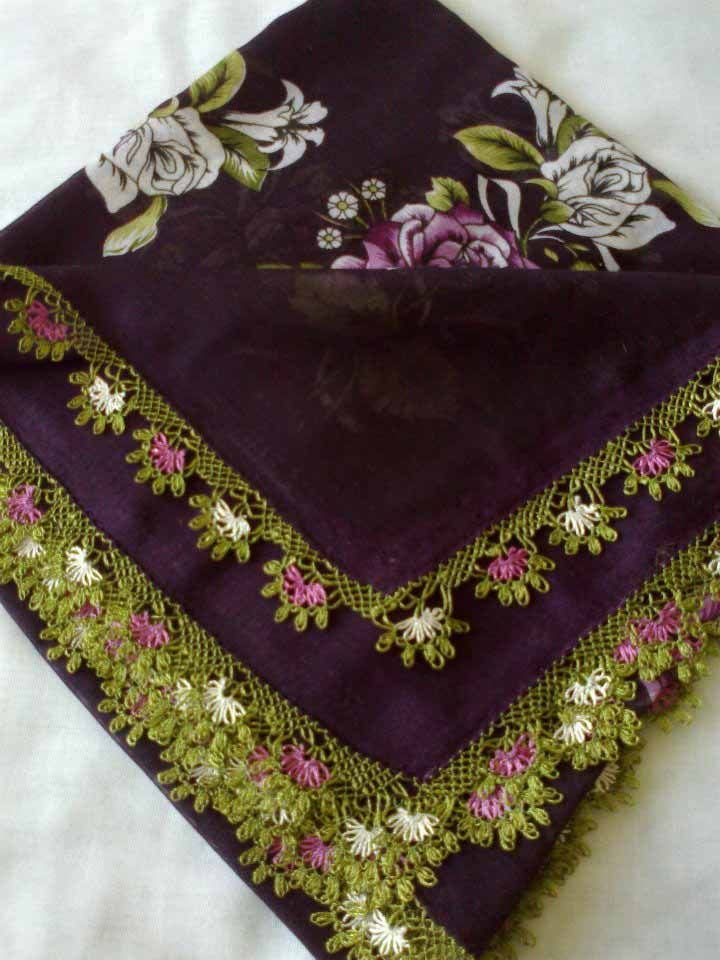 A head scarf edged with 'iğne oyası' (Turkish needle lace).