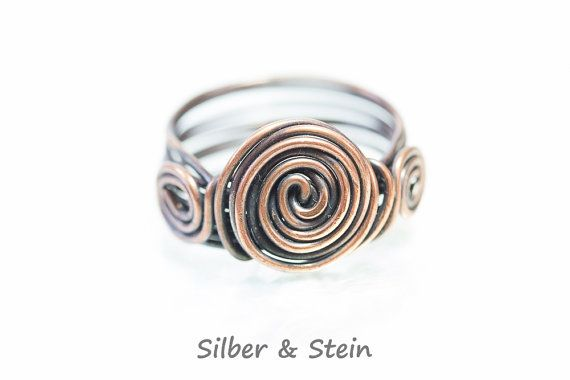Kupfer Ring mit Spirale von SilberundStein auf Etsy