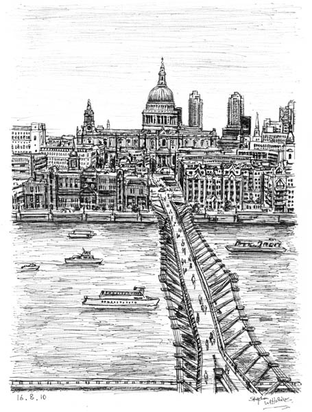 Millennium Bridge - drawings and paintings by Stephen Wiltshire MBE