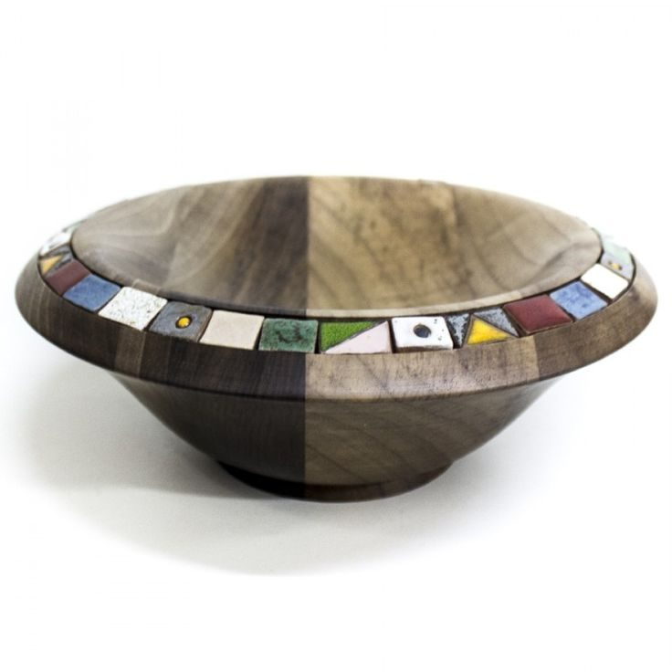 Specially designed ceramic-edged wooden bowl.