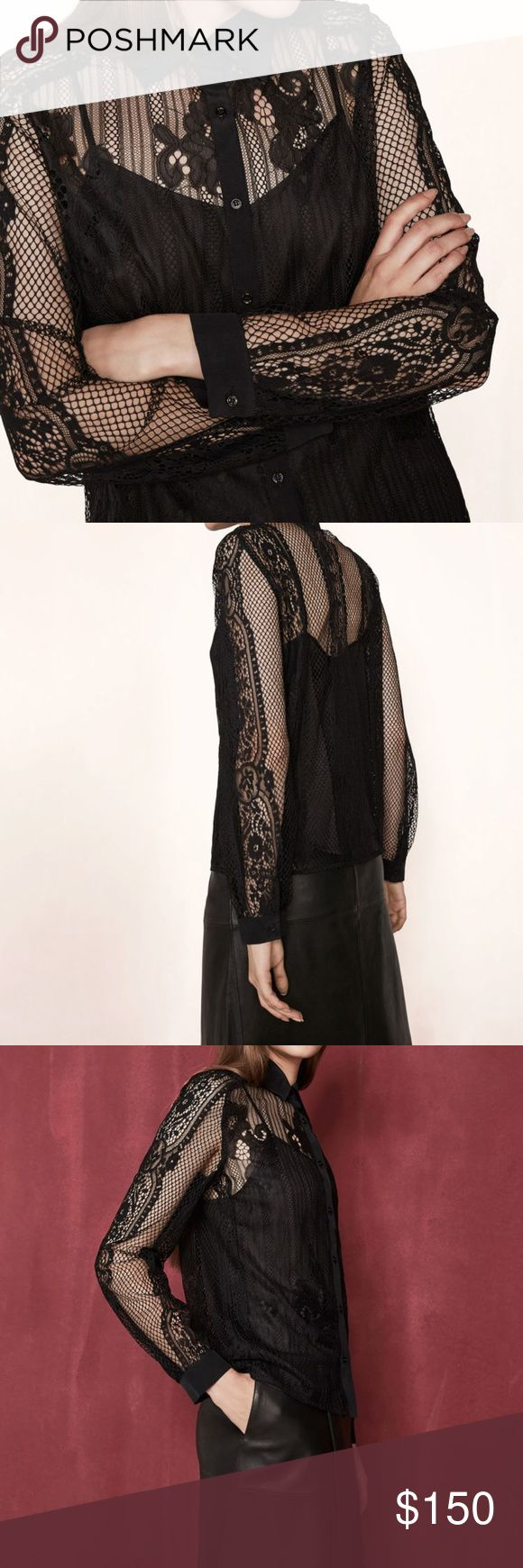 """NWT Maje black lace long sleeve lace top blouse 2 Maje size 2. (equivalent to about a size S).  Fits bust around 32-35'"""". No trades.  It doesn't include the black camisole underneath but could be worn with a black bra, nude bra, camisole, many options work with this top. Maje Tops Blouses"""