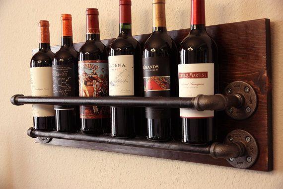 Industrial botellero madera rústico botella de vino titular – regalo de inauguración de la casa, regalo de los amantes del vino, Wine Bar