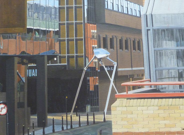 'War of the Worlds' Acrylic on paper 34 x 25 cms. The subject is a sculpture in Woking celebrating local author H G Wells and the fact that the alien cylinders landed nearby.