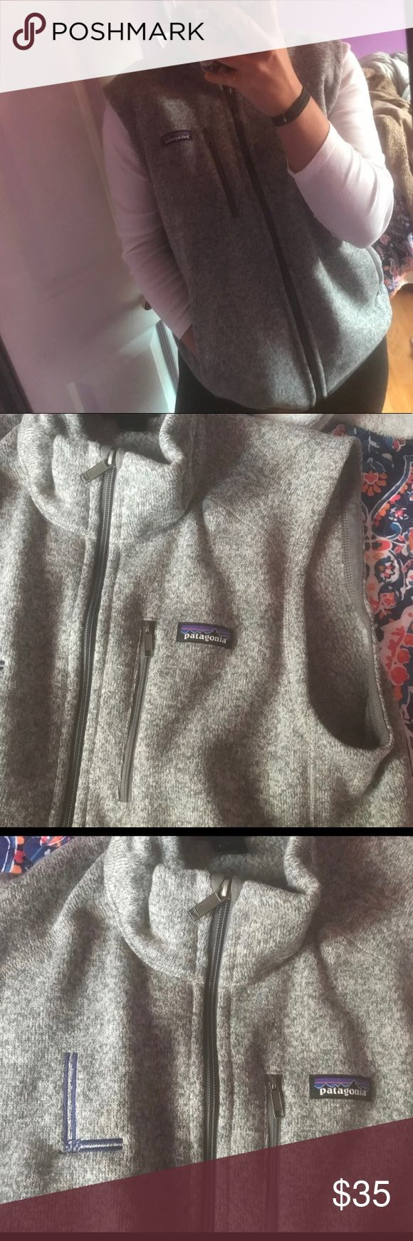 Patagonia vest perfect condition Patagonia vest! it has a small hole in it from when i tried to get the embroidery off but it's fixable!! It's so soft and cozy, it's too big on me unfortunately. Women's. BEFORE YOU BUY:  I ship out day after purchase  NO TRADES OR PAYPAL 10% off bundles  Please use offer button for reasonable negotiations Patagonia Jackets & Coats Vests