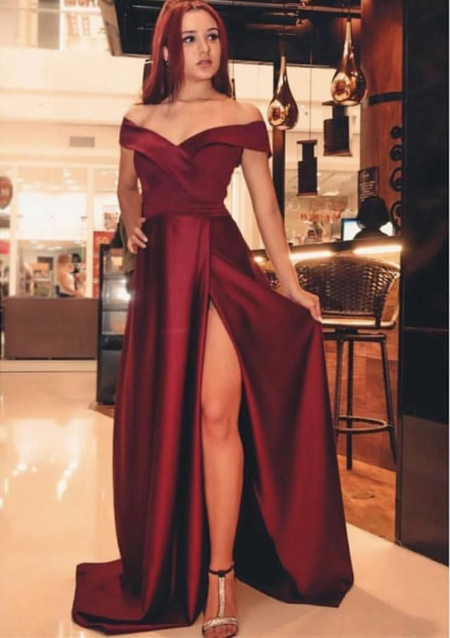 d0c0e2baa230 Item Description : A Glamorous Formal Fit Satin Dress With V-neckline and  Leg Split Design,perfect for your prom,evening,formal,quinceanera or any  other ...
