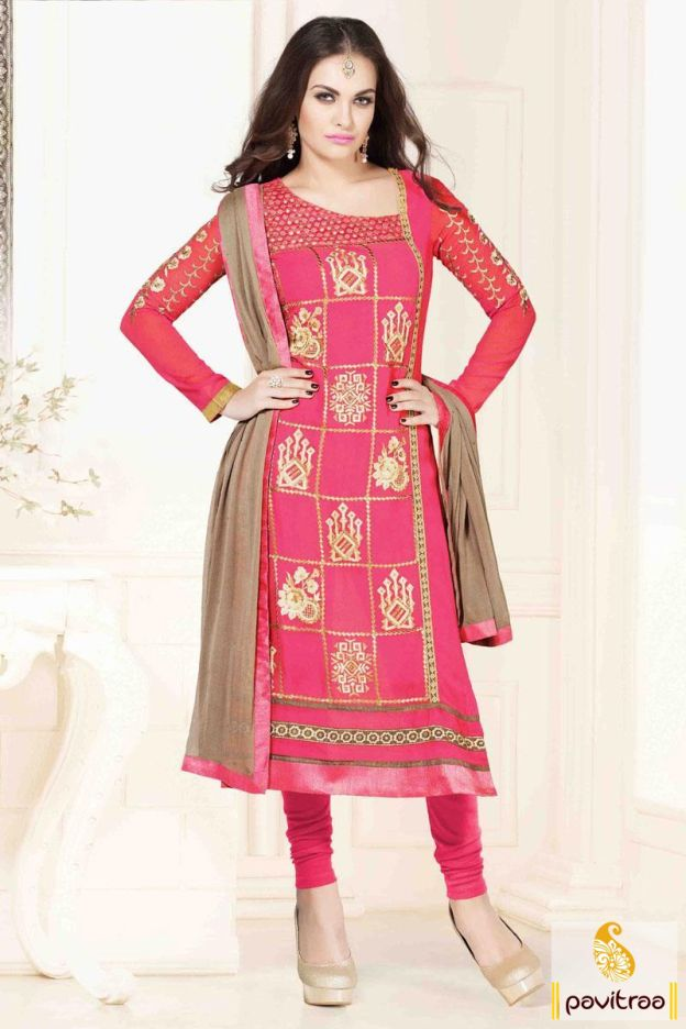 Dress up this pink and beige embroidery suit at lower price for weddings, parties, festivals. This suits comes in shimmering zari embroidered and patch border design.   http://www.pavitraa.in/store/partywear-salwar-suit/ #salwarsuits, #salwarkameez, #designersalwarsuits, #straightsalwarsuits, #fancysuits, #embroiderysalwarsuits, #georgettesalwarsuits, #churidarsuit, #wholesalecatalog Call Us : 917698234040