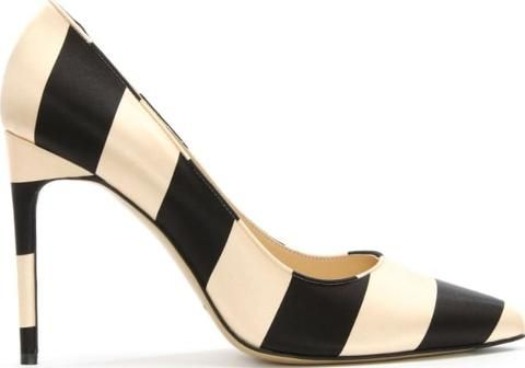 Daphne Black & Nude Satin Striped Court Shoe. Black & Nude Satin Upper Leather Lined Leather Sole Striped Design Pointed Toe Stiletto Heel.#trend #lifestyle #highheels #awesomeshoes #women #fashionforwomen #trednsetter #luxury #party #partyshoes