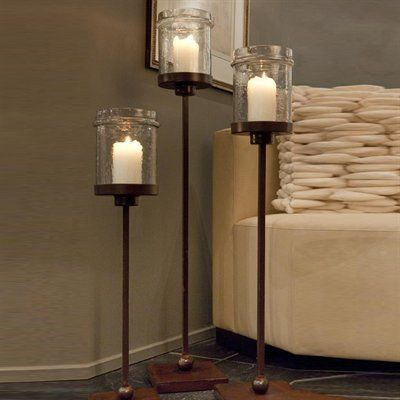 Iron Floor Candle Holder With Hammered Jar Globe Height 29 41½ Inches Base Width