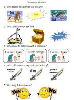 Solomon's Wisdom Worksheet @ Bible Fun For Kids
