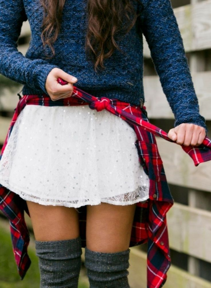 Adorable Back-to-School Outfits for Teens ... → Mix and Match - the mix of flannel and lace: