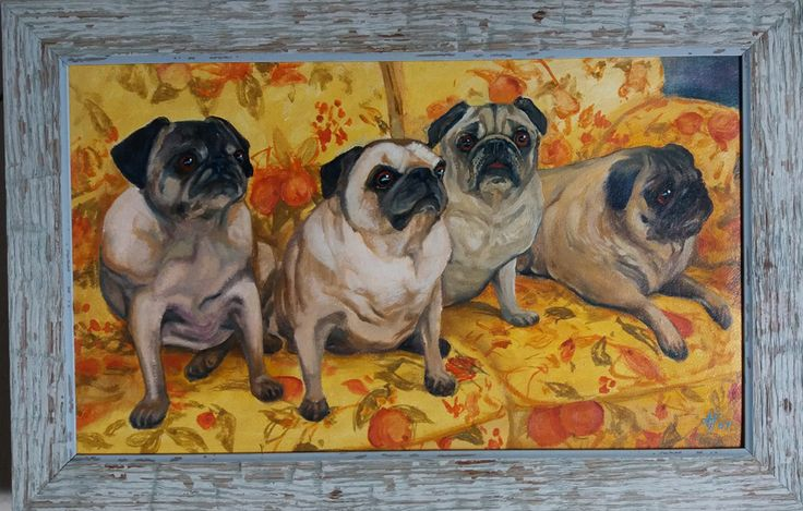 a Family of Pug's painting by Tony Fredriksson