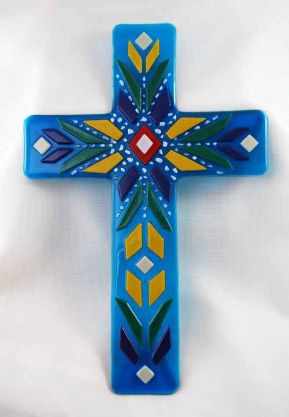 Fused glass wall cross  mexican blanket by SalmonRiverGlassArt
