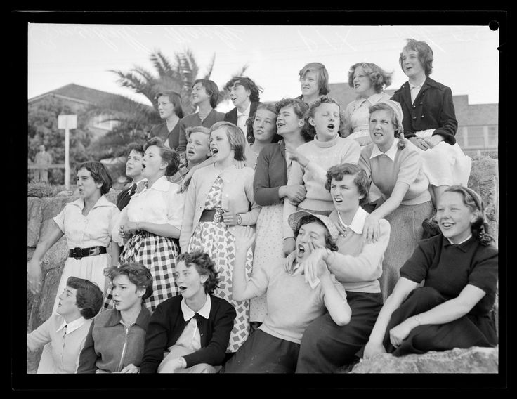 Young female spectators at a baseball game in Manly. Published in Pix, October 1953. Forms part of the ACP Magazines Ltd. photographic archive including Pix magazine negatives, 1930s-1980s. Mitchell Library, State Library of New South Wales: http://www.acmssearch.sl.nsw.gov.au/search/itemDetailPaged.cgi?itemID=1122723, image no. 1. Digital order no. c004010001.