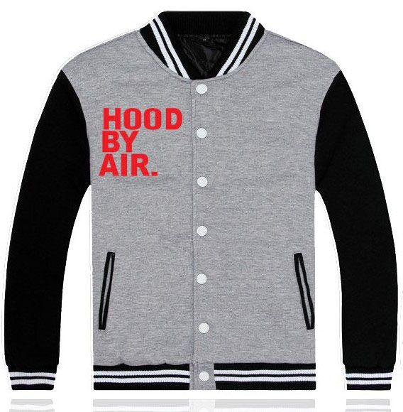 Grey Black Cotton Baseball Jacket With HOOD BY AIR Printed