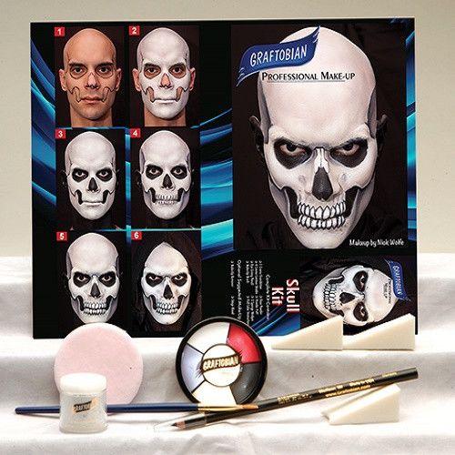 Skull Complete Make-up Kit By Graftobian, Halloween, FX, Skeleton