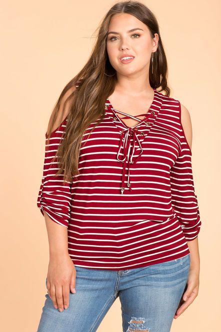 4d1b259827c9e Women s Plus Size Tees. Lace Up Stripe Cold Shoulder Top