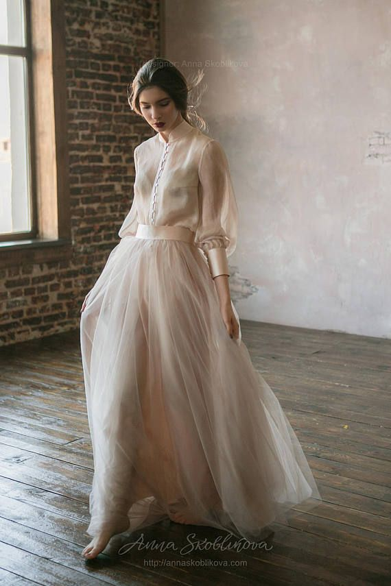 Classic marriage ceremony costume from pure silk and blush tulle skirt. Victorian marriage ceremony costume, summer season marriage ceremony costume, easy marriage ceremony costume 0134