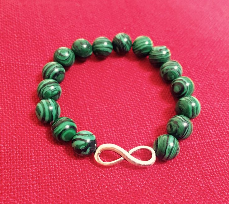 Infinity Green Malachite Bracelet by BarbarittasBoutique on Etsy