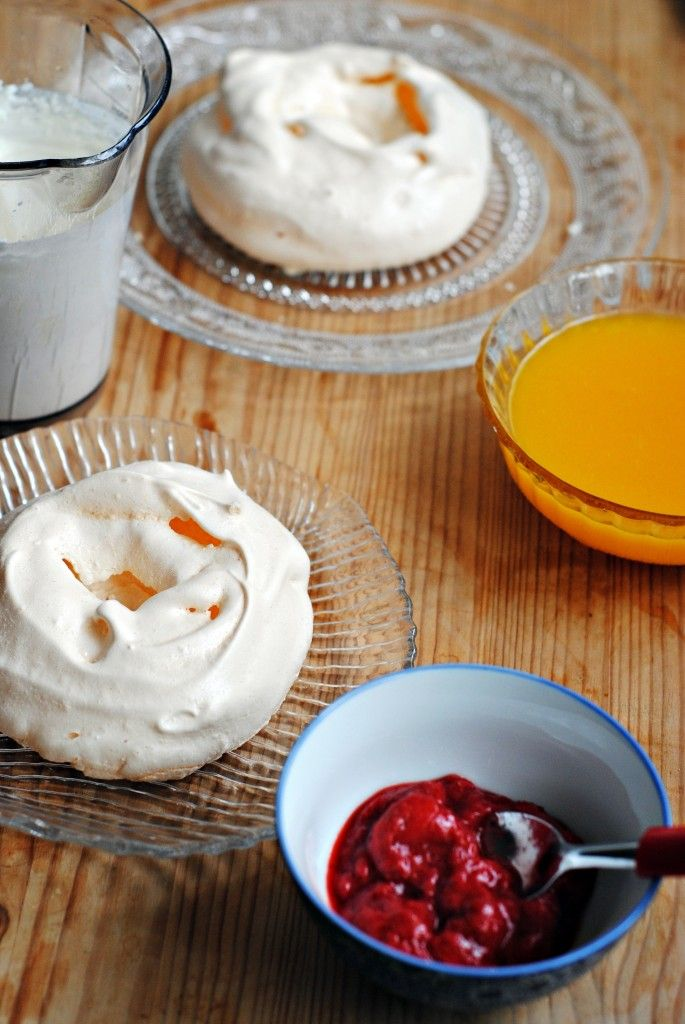 Individual Pavlovas with Strawberry Compote and Mango Coulis - as good as it sounds!