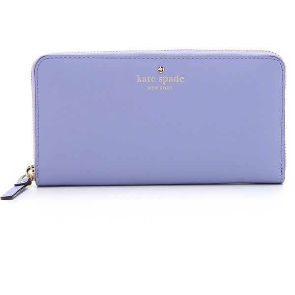 Kate Spade New York Lacey Zip Around Wallet (240 CAD) ❤ liked on Polyvore featuring bags, wallets, thistle, leather zipper bag, genuine leather wallet, leather zipper wallet, polka dot bag and 100 leather wallet