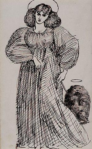 Jane Morris and wombat, drawn by Dante Gabriel Rossetti