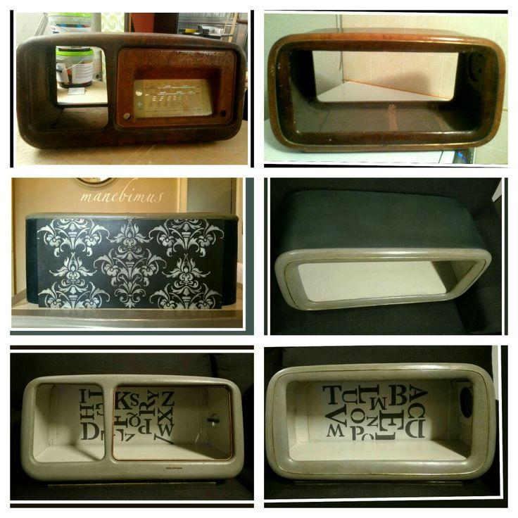 vintage radio cabinet become bookshelves (even to hang on the wall) completely renovated and decorated by Nicanoa  ------ vecchie casse vuote di radio diventano contenitori per libri, da parete o da appoggio completamente recuperate e decorate da Nicanoa