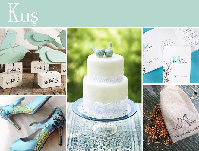 Kuş motifleri ile bezenmiş düğün temaları