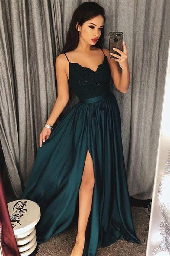 696f5c8d5 A-Line Spaghetti Straps Dark Green Prom Dress by ModelDressy on Zibbet