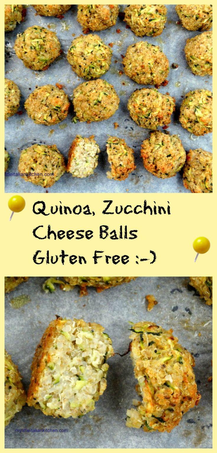 Quinoa and Zucchini cheeseballs gluten free! Children love these too :-) mylittleitaliankitchen.com