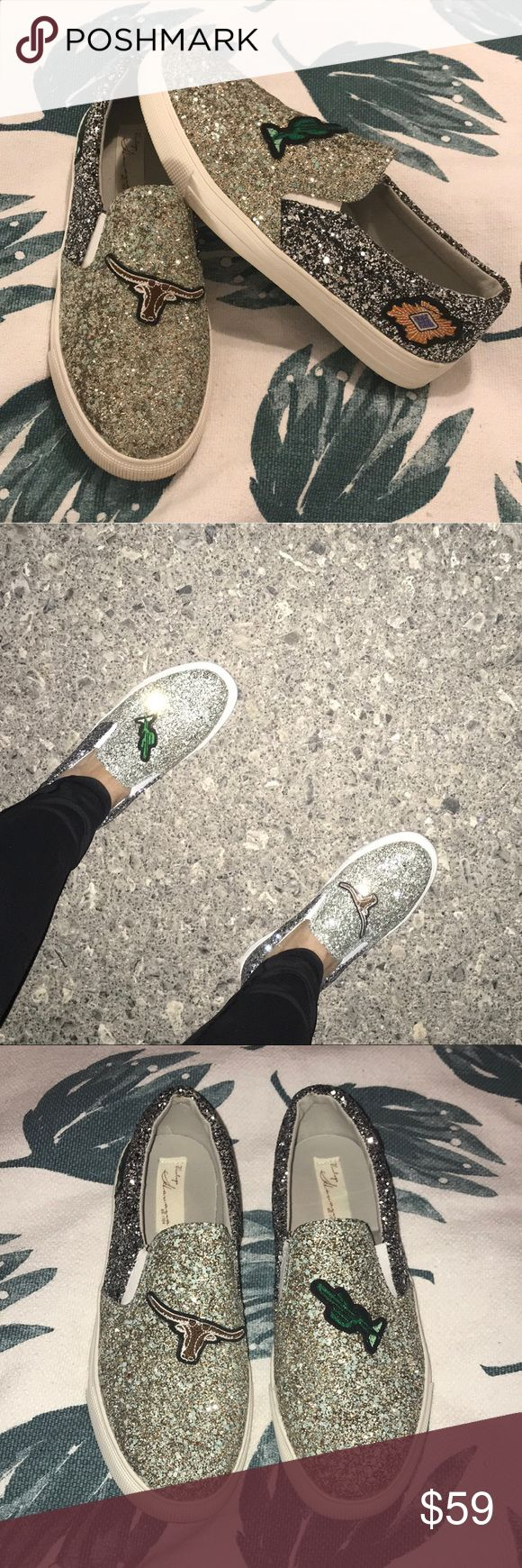 """🌵Vintage Havana Patched Glittery Slip-On Sneaker ✨ worn once✨ these shoes are magical! I tried to show how amazing they are using pics with a flash and no flash. Only defect is the left shoe insole is lifting, please see last pic, but this is not an issue once you put them on.   - Sizing: True to size. These do not come in half sizes! - Round toe - Glitter finish - Patched - Gore insets - Slip-on - Lightly padded footbed - Rubber midsole - Approx. 1"""" platform - Grip sole - Imported Vintage…"""