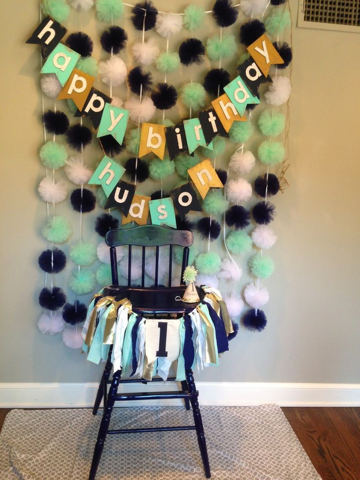 1st birthday smash cake set-up for boy - mint, navy, white, and gold. Links to Etsy retailers in blog post