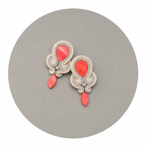 Coral unique stud, wedding earrings, retro jewelry, soutache embroidered beads, peach accessories, bohemian orecchini, long studs for mother on Etsy, $43.00