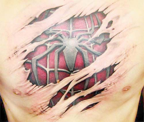 Variety Of Designs For A Spectacular: Types Of 3D Tattoos For Men: Cool 3d Spiderman Tattoo