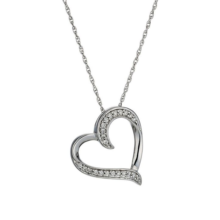 Sterling silver 15 point diamond open heart pendant - Product number 1930583