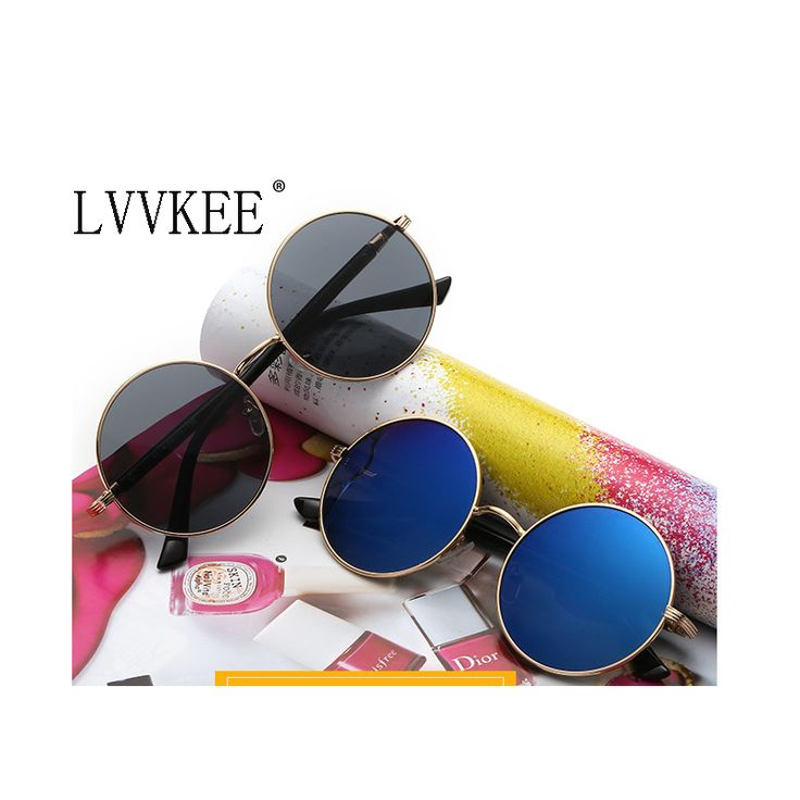 Deluxe round sunglasses lvvkee brand fashion women brand designer retro colored lenses alloy frame color Beach sunglasses
