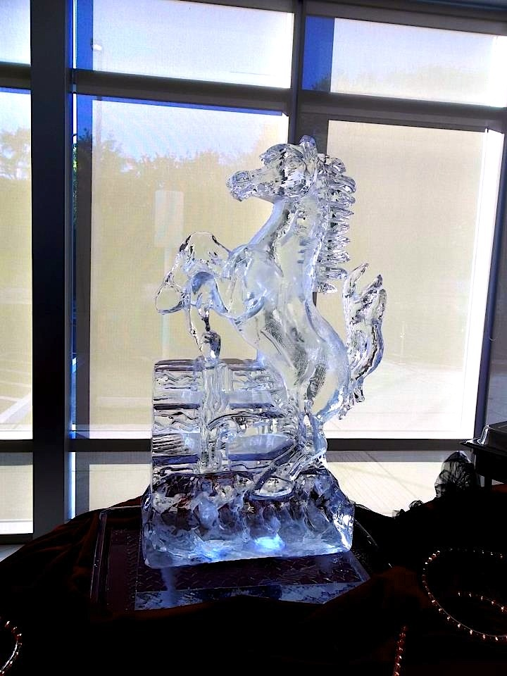 Ice Sculpture Of The Ferrari Stallion At A Dealership In Florida