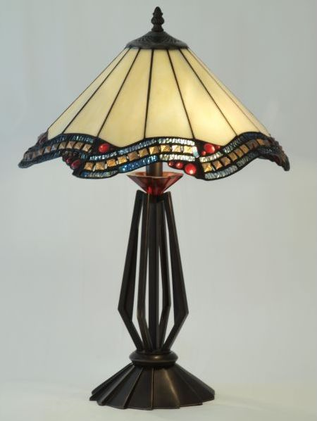 Palladio tiffany lamp  Palladio tiffany lamp in cream and red glass on art deco style base