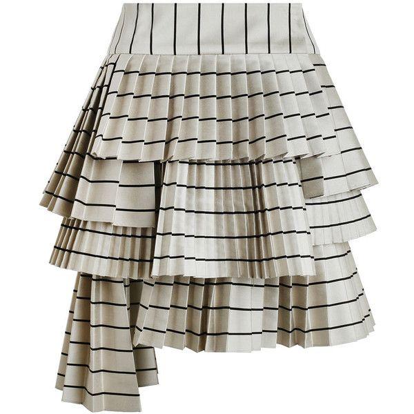 ZIMMERMANN Maples Sportive Mini Skirt ($755) ❤ liked on Polyvore featuring skirts, mini skirts, zimmermann skirt, striped asymmetrical skirt, zimmermann, stripe skirt and striped short skirt