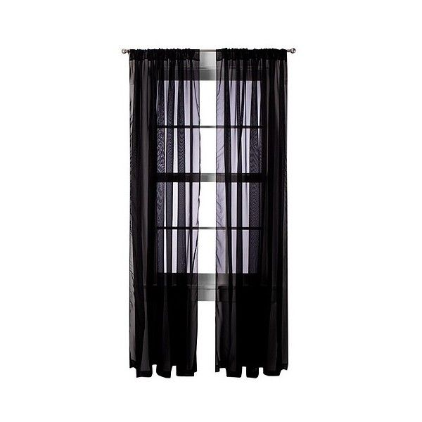 Room Essentials Voile Sheer Curtain Panel Pair   Black ($20) ❤ Liked On  Polyvore