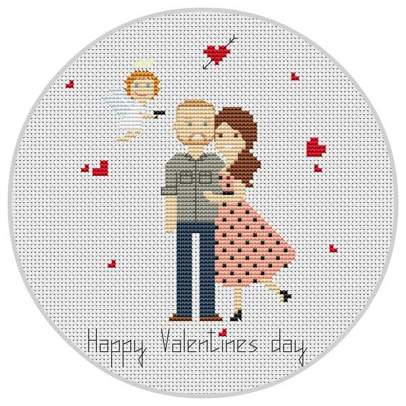 Custom Valentines day cross stitch Love Heart Cupidon Happy Valentine's Day Pixel art Wedding Cross stitch Anniversary gift