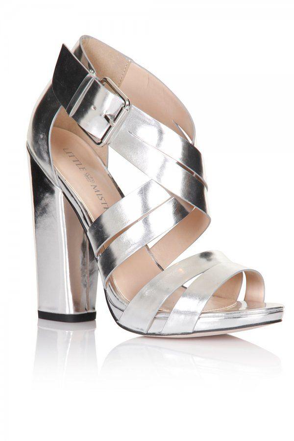 Little Mistress Footwear Silver Cross Over Multi Strap Heels