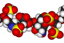 Heparin also known as unfractionated heparin, a sulfated glycosaminoglycan, is used as an injectable anticoagulant, and has the highest negative charge density of any known biological molecule. Heparin binds to the enzyme inhibitor antithrombin III (AT) causing a conformational change that results in its activation through an increase in the flexibility of its reactive site loop. The activated AT then inactivates thrombin and other proteases involved in blood clotting, most notably factor…