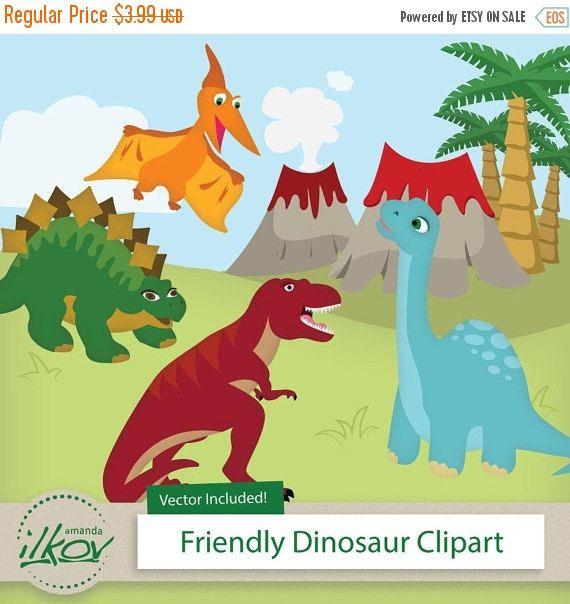 BIG AUTUMN SALE Professional Cute Dinosaur Clipart by AmandaIlkov